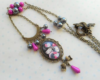 "Child necklace glass cabochon 25 X 18 cm ""kokeshi"" fuchsia pink, black, bronze, beads, charms, Asian optional gift box"
