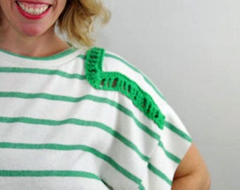 White/Green Stripe with Green