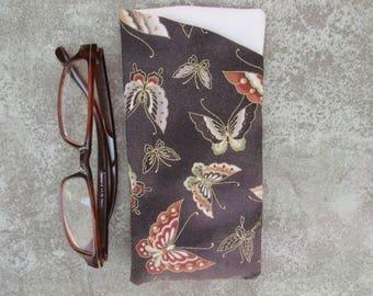 Eyeglass Case/ Eyeglass Holder/ Fabric Eyeglass Case Brown with Orange Butterflies