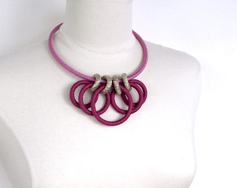 Color Block Textile Necklace Fuchsia