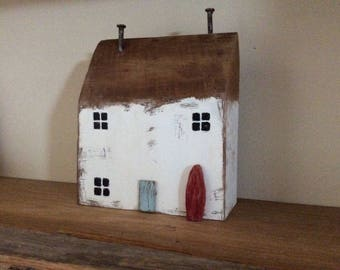 Hand crafted rustic wooden house cottage ornament