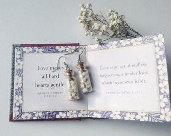 Gypsophila earrings - botanical jewelry, bridesmaid earrings - white wedding, real dried gypsophila flower, baby's breath, tiny glass bottle