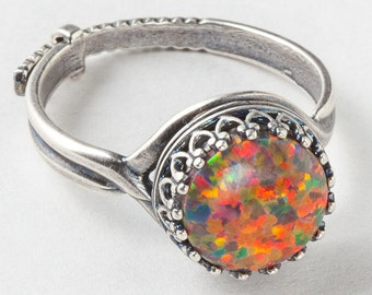 Silver Opal Ring, Mexican Opal Ring, Silver Filigree Ring with Adjustable Band, Statement Ring, Cocktail Ring, October Birthstone Jewelry