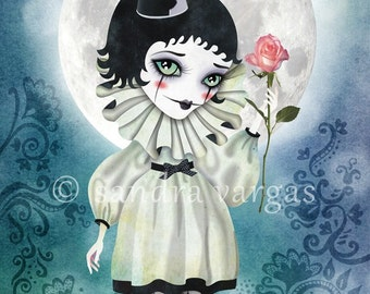 Pierrette Under the Icy Moon, 8 x 12 Art Print, Digital Illustration, Valentine's Day