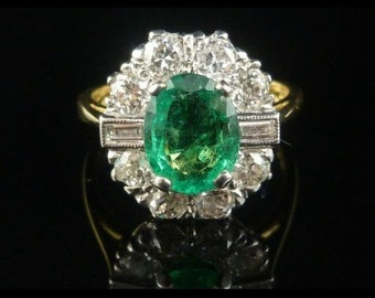 Antique Engagement Ring - 2CT Emerald - 1.20CT Old Cut & Baguette Cut Diamond Ring