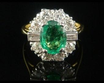 Antique Engagement Ring - 2CT Emerald - 1.20CT Old Cut & Baguette Cut Diamond Ring