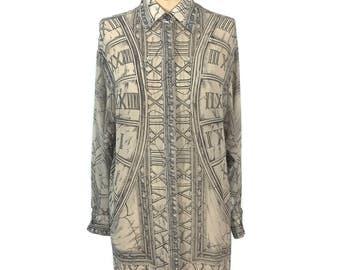 vintage 1990's EMANUEL UNGARO zodiac blouse / silk / time roman numerals star signs astrological / women's vintage blouse / tag size 6