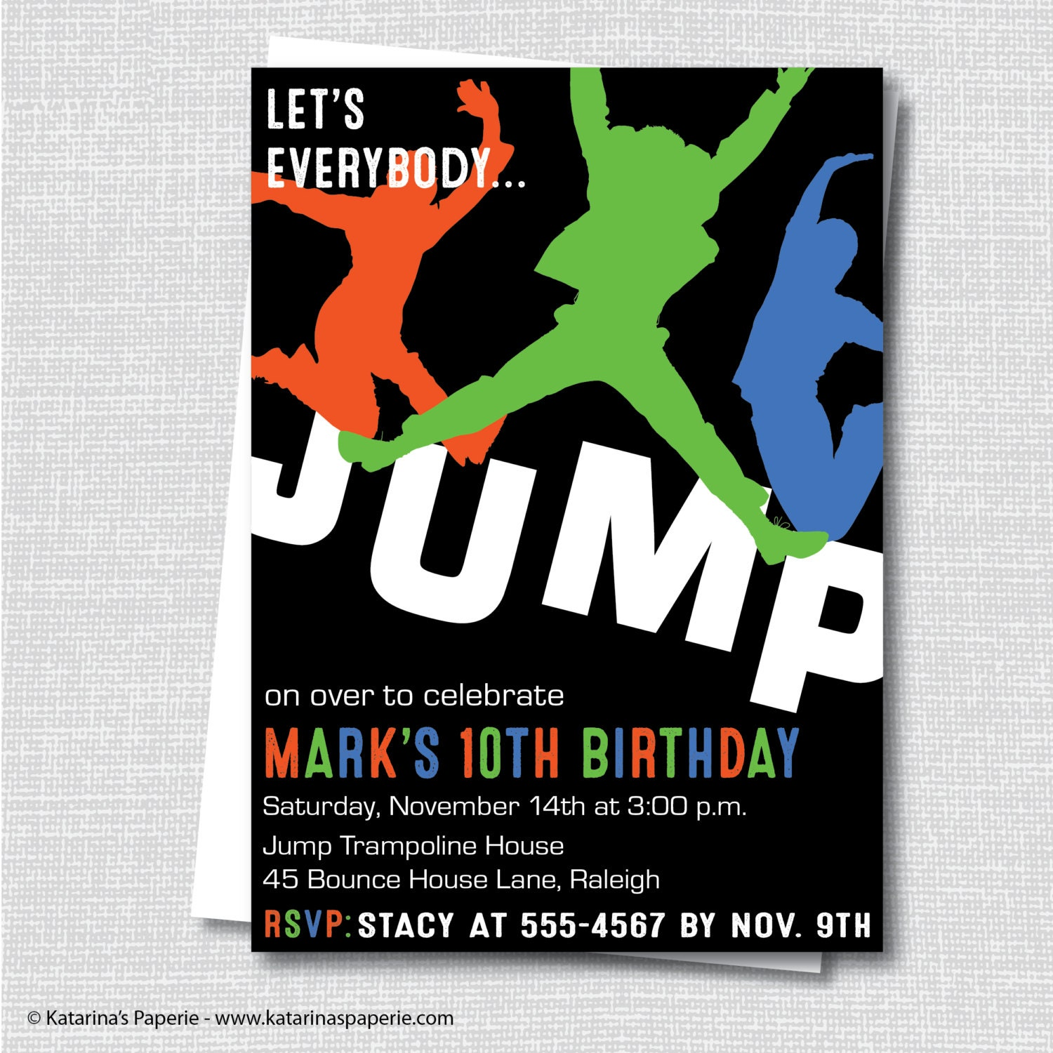 Boy Trampoline Birthday Invitation Tween Or Teen Birthday
