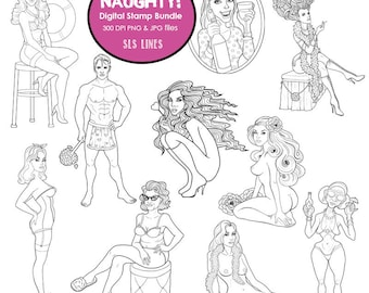 NUDE Digital stamp bundle pack, naughty adult digistamps, naked stamps, hot man, wine drinker by SLS Lines