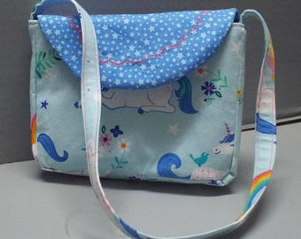 Toddler Purse - Girls Purse - Girls Shoulder Bag - Girls Tote, Happy Unicorns Fabric