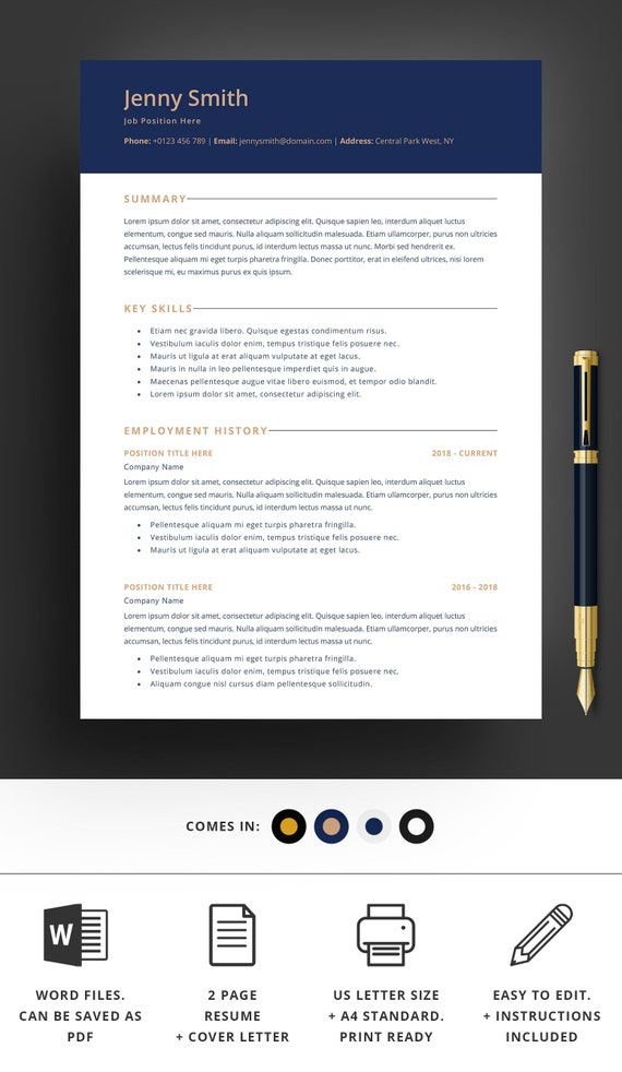 Resume Template Word Professional 2 Page Resume Modern Clean