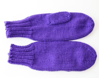 Iris Mittens for Adults - Traditional Mittens - Old Fashioned Mittens - Purple Adult Mittens - Knit Mittens - Knit Purple Mittens - Lupus