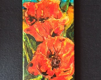 "Poppies 8""x16"" Acrylic Mixed Media"