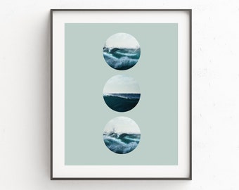 Wave Wall Print, Seascape, Wave Art Decor, Beach Waves Print, Home Decor, Gift For Him, Coastal Wall Art, Digital Downloads, Photography