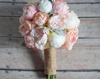 Peach Ivory And Blush Peony And Garden Rose Wedding Bouquet With Lambu0027s Ear  And Burlap Wrap