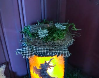 Black Phillip Lantern Jar Light, Primitive Goat Lantern, Black Phillip Jar Light, Black Phillip Altar Decor