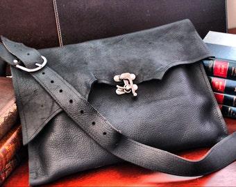 Black Leather Steampunk Messenger Bag - Raw Edge Manbag Satchel