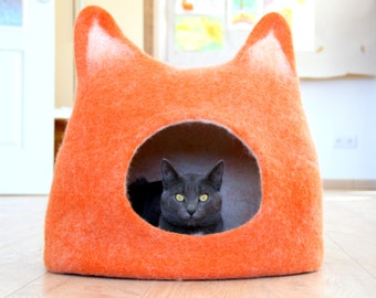 Pet houses, Cat bed, cat cave, cat house, pets basket handmade felted wool cat bed, orange with natural white, stylish cat bed, cats bedding
