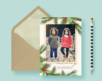 Classic Traditional Holly Custom Photo Cards - Custom Photo Christmas Cards - Christmas Joy - Photo Holiday Cards - Printable or Printed!