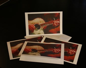 The Guitarist  - 4 Blank Note Cards