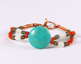 Turquoise stones bracelet, beaded, rhinestone and copper components, copper wire, steel wire