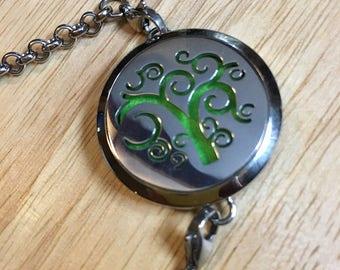 Tree of Life, EO bracelet, Stainless Steel, Essential Oils, Lava Diffuser, EO Locket, Oil Pendant, Oil Diffuser, lava rock bracelet