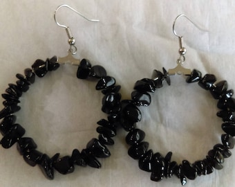 Black Obsidian Hoops