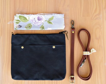 Black Waxed Canvas Crossbody Purse with Vintage Style Floral Lining and Leather Strap, Black Messenger Bag, Cross Body Purse, Plus Size, USA