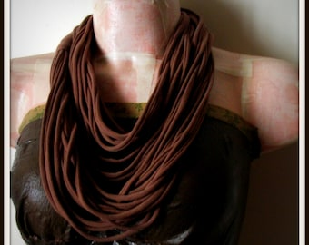 SALE Brown Infinity Multi Strand T shirt Jersey Scarf