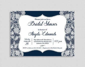 Bridal Shower Invitation, Navy and White Lace Invite, Wedding Shower Invite, DIY PRINTABLE