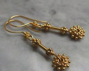Bali gold earrings vermeil gold 24k wheel tube bead everyday jewelry wire wrapped floral drop earrings dangle boho granulated stick