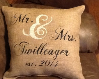 Personalized mr and mrs pillow, burlap pillow, wedding gift, valentines gift