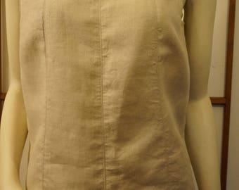 Vintage Liz Claiborne Tank Shirt Medium 100% Linen Oatmeal Sleeveless Round Neck