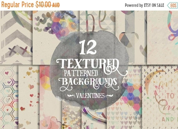 70% OFF Sale Digital Paper Pack, Layered Valentines Day Hearts, 12 x 12 for Background, Scrapbooking, Instant download