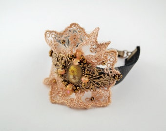Peach victorian lace bracelet Embroidered rose bracelet Lace floral bracelet Leather bracelet Shabby chic bracelet Bracelet for evening