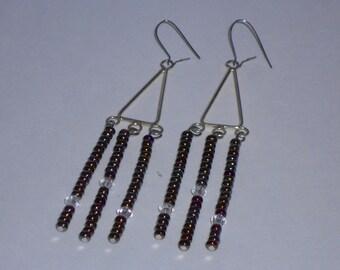 Metallic Earthtone and Crystal Triangle Chandelier Earrings- 019