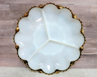 Divided Milk Glass Serving Dish Vintage Milk Glass Serving Dish Milk Glass Serving Dish with Gold Scalloped Edging - V302
