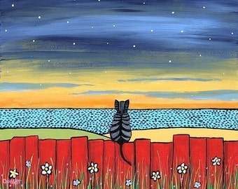 Twilight Tabby Cat   on red fence Shelagh Duffett -  Print