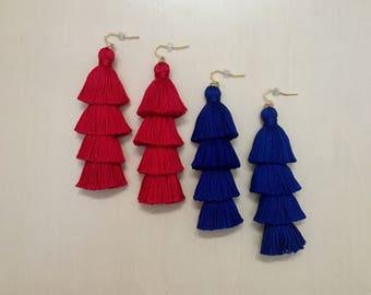 Handmade Tiered Tassel Drop Earrings, Fringe Tassel Earrings, layered Tassel Earrings, Tassel Stack, Fringe Drops,tassle earrings, layered