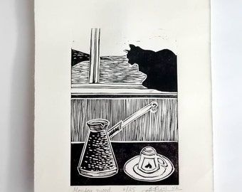 "Original Linocut Handmade Print, 6.5"" x 9"", Limited edition, small size art, black ink, black cat, Turkish coffee, wall decor, block print"