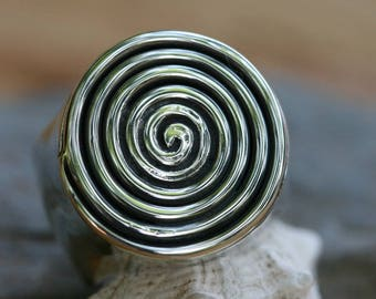 Sterling Silver Ring,,Magician Hypnotic Swivel Ring, Big Silver Spiral Ring, Solitaire Ring, Unisex Ring, Mens Spiral Ring, Silver Jewelry,