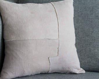 Purple Decorative Pillow / Linen / Neutral / Hand Dyed Linen / Hand Dyed / Purple / Pillow / Goose Down /