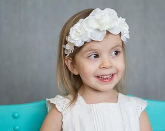 White Flower Headband, White Flower Crown, Communion Headpiece, Toddler Flower Crown, Flower Girl Headpiece