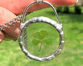 Lucky Four Leaf Clover Charm Necklace Glass Terrarium Necklace