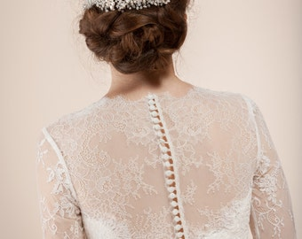 Bridal hair comb, headpiece, - beaded blossom comb with freshwater pearls --  Style 310