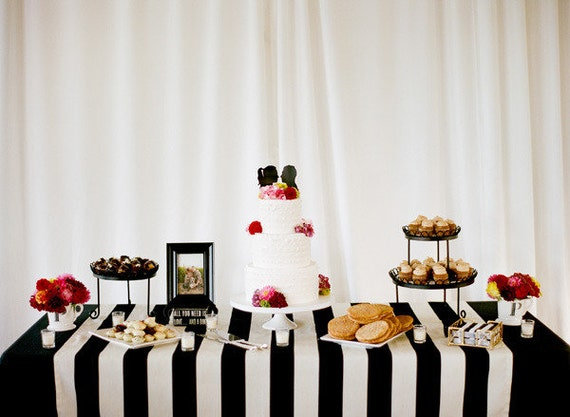 Merveilleux Black And White Stripes Tablecloth 30% Off Sale Wedding