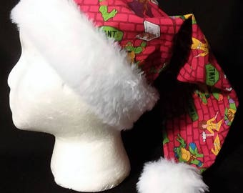Christmas Santa Hat Made From Red Teenage Mutant Ninja Turtles Fabric