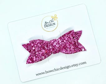 "Chunky Glitter Hair Bow 3"" - Hot Pink"