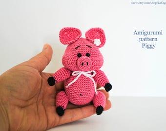 PATTERN: Piggy Amigurumi Crochet Pattern PDF file Amigurumi animals Pig pattern Crochet pattern Pink pig, English, Spanish, French