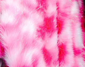 "96"" x 120"" inches King Size Faux Fur Bedpsread  sparkle shaggy pink and hot pink on white Fake Fur Luxury Home Decor Custom Made USA"